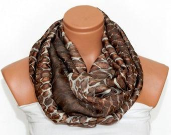 Brown Infinity Scarf,Loop Scarf,snakeskin scarf,Circle Scarf,Brown,Cream chiffon fabric Scarf,Cowl Scarf,Nomad Cowl.Eternity Scarf