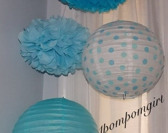 TISSUE POMS & LANTERNS / 2 tissue paper pom poms/2 paper lanterns / aby shower, birthday, wedding, bridal shower, nursery decor