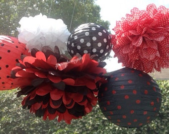 LADYBUG / 3 tissue paper pom poms /3 paper lanterns / birthday decorations, wedding decorations, nursery decor, party decor, diy
