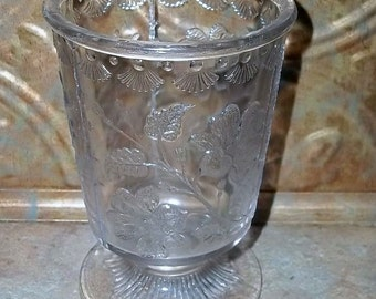 Antique  Nova Scotia Pressed Glass Spooner Floral Pattern