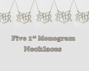 "Five Monogram Necklace Initial Personalized 1"" inch - Sterling silver 925. gift for her, monogram jewelry."