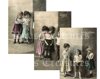 Comical Children Photo Postcards Digital Images for card making or Crafts