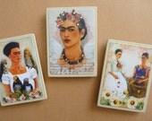 Magnet set collage altered art vintage Frida Kahlo
