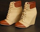 Vintage Style Brown Leather Toed Wedge Ladies Ankle Boot