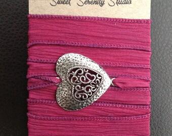 Silk Wrap Bracelet with Heart