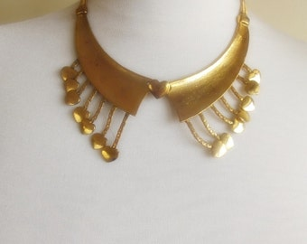 SALE detachable peter pan collar necklace beads bridal wedding christmas gift for her golden nr. 61