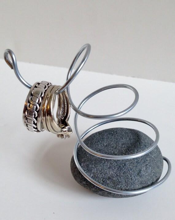 Beach Stone Wedding Engagement Ring Holder Display