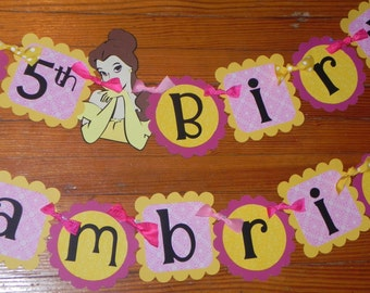 Beauty and the Beast Birthday Banner - Belle Birthday Banner AND Name Banner