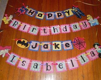 Princess and Superhero Birthday Banner - Boy/Girl Birthday Banner