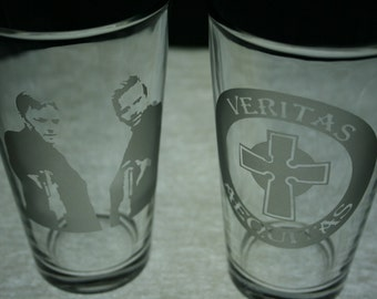Boondock Saints Etched Drinking Glasses  Ready to ship - St. Patricks Day