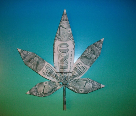 items similar to money origami marijuana pot leaf great gift idea or for your weed shop made of. Black Bedroom Furniture Sets. Home Design Ideas