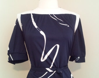 1970's Navy and White Belted Dress by Sherri Lynn II