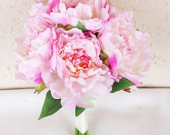 Wedding Pink Peony Silk Flower Bride Bouquet - Almost Fresh