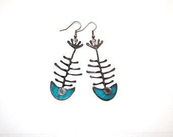 Fish Bone earrings, Skeleton earrings, Blue Beach Fashion,  Unique for Summer, Animal Earrings