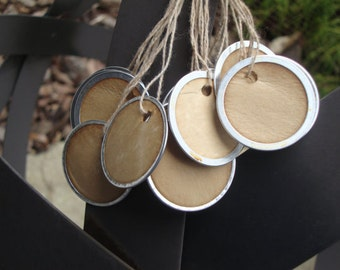 """100 Stained Metal Rim Hang Tags, sized 1 1/4"""", Vintage tags, Antique tags, Primitive tags"""