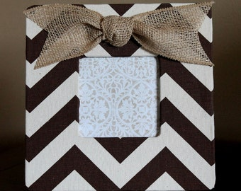 Chocolate Brown Chevron Frame with a Burlap Bow
