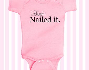 Birth Nailed It  Baby Girl Pink Bodysuit  in Black by SimplyBaby
