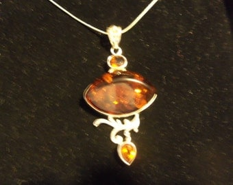 Baltic Amber Snake Chain Necklace Pendant  Sterling Silver 925