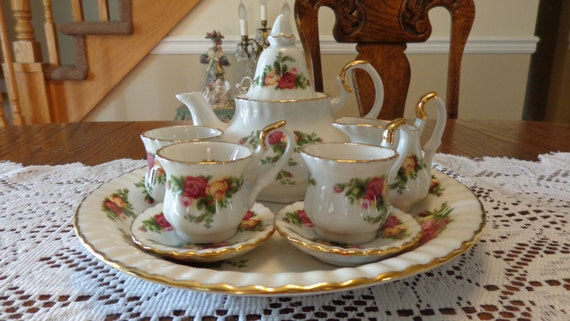 Miniature Tea Set By Royal Albert Bone China Old Country Rose