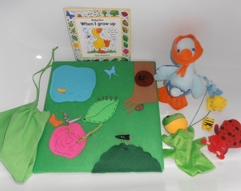Pre-literacy Story Board, Story Sack with Soft Toys and Book, Montessori Practical Life Exercises and Cultural Life Cycles