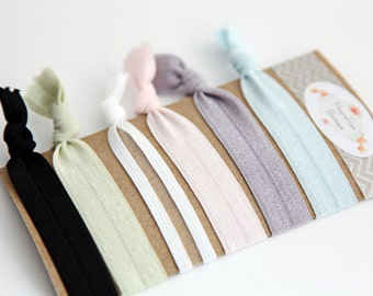 Creaseless Hair Ties - Pink, Green, Blue, Grey, Black, White - Hair Ties - Set of 6