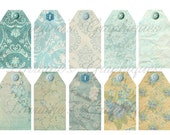 Aqua Shabby Chic 11 Gift Tags or Label Printables JPG and PNG