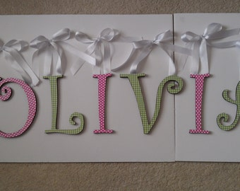 Pink polka dot letters-decorative wall letters-green checked-custom