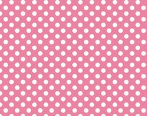 Hot Pink Polka Dot fabric by Riley Blake Small PINK Dots -  sale end of bolt 13x44 inches