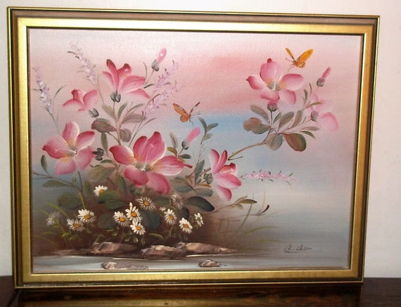 Signed C K Chan Oil On Canvas Floral Painting By Booksshop