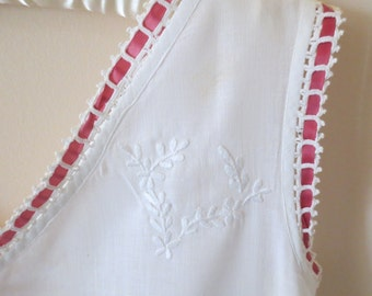 NEW PRICE 1800's White Nightgown with embroidery and ribbon