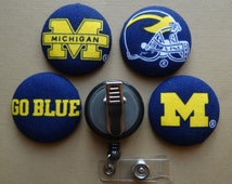 Retractable Badge Holder - Fabric Covered Button - University of Michigan