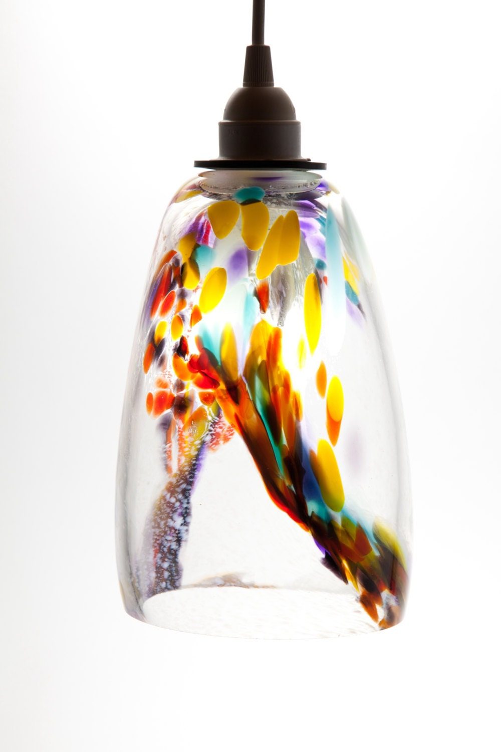hand blown glass hanging light pendant fixture in by glassometry