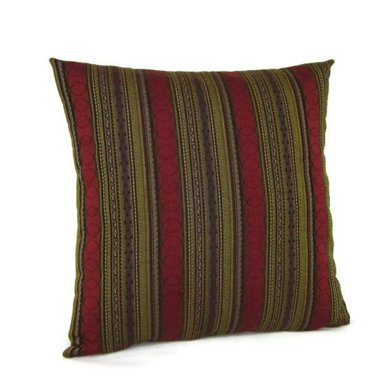 Sale Throw Pillow Cover Brown Olive Green Maroon Stripes Home