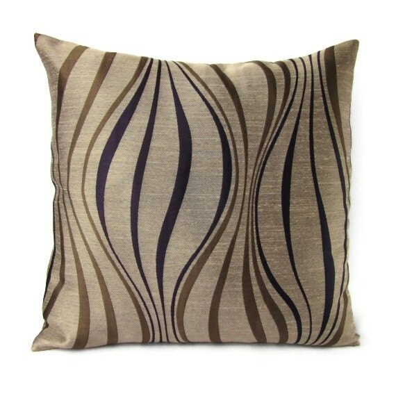 16x16 Throw Pillow Cover Brown Tan Plum Purple Stripes Home