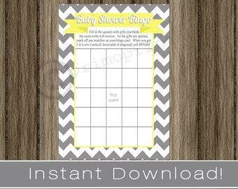 Baby Shower Bingo Game Cards gray chevron and yellow INSTANT DOWNLOAD diy digital printable file print your own , babyshower