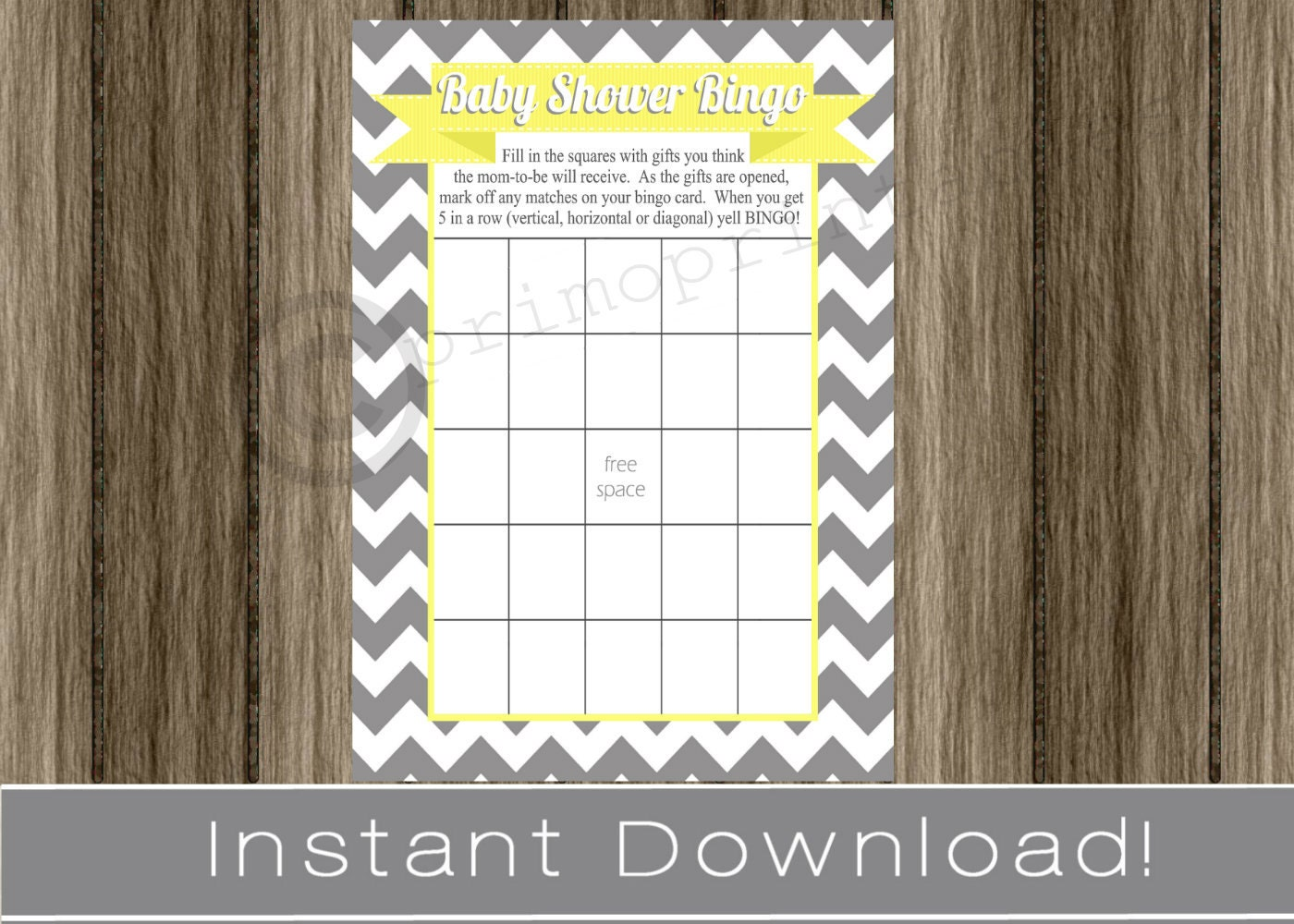 Baby Shower Bingo Game Cards gray chevron and yellow INSTANT