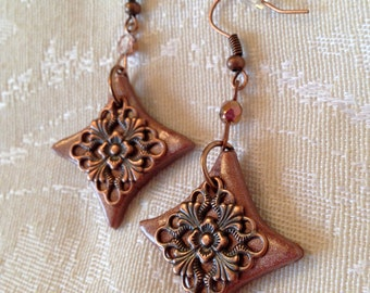 Handmade Polymer Clay Rose Pink Copper Filigree Earrings