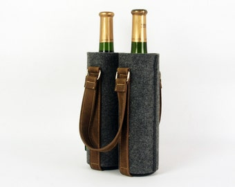 Rustic Leather Felt Double Wine Box Fabric Wine Bag Household Storage Wine Gift Bag Bottle CustomMade  best special gift E1755-MGra01