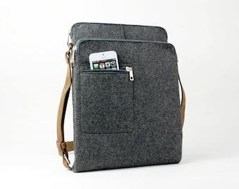 20% OFF! Gray Felt Messenger Bag Shoulder Bag Crossbody Bag iPad Bag School Bag Business Bag with Retro Leather Straps E1738-MGra01