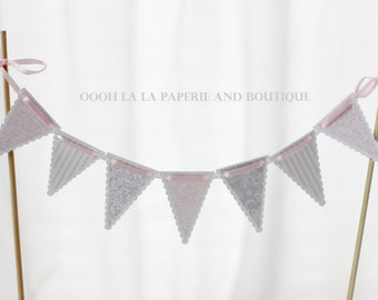 MADE TO ORDER Pretty in Pink and Grey Lace Cake Bunting