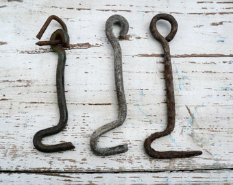 Set of 3 Vintage iron hooks