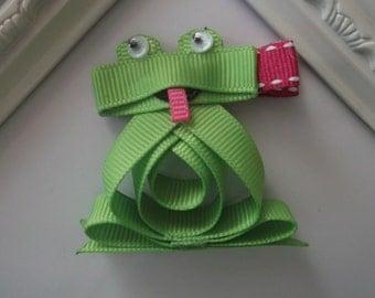 Frog Ribbon Sculpture Hair Clip. Froggy Hair Clip.