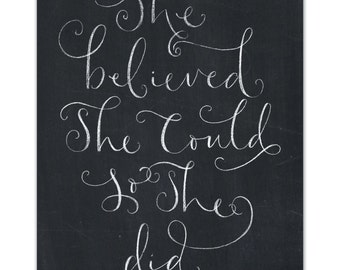"""Inspirational Hand Lettered A4 Print, """"She Believed"""""""