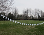 Bunting, pennant, garland, flags : Made to order Plain white cotton bunting by the foot  or custom order- This listing is for 30 feet.