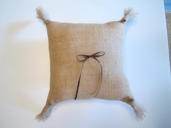 Ring bearer pillow  burlap- with burlap tassels and ribbon - color of your choice: made to order for weddings