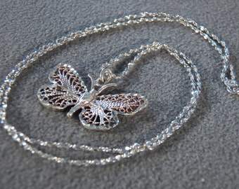 Vintage  Sterling Silver Scrolled Fancy Filigree Butterfly Pendant Charm Necklace Chain