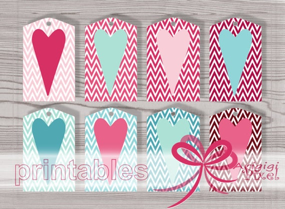 Printable Gift Tags   Valentines Tags   Pink And Blue Hearts   Chevron  Hearts Tags   Word Template, PDF PNG Download