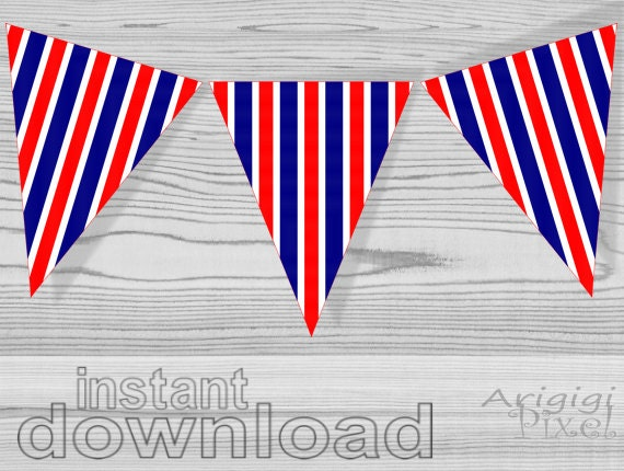 printable red blue white striped banner, party decoration, patriotic, holiday printables, July 4th, american holidays
