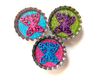 Magnet Set of 3 Butterflies Glitter Resin Filled Bottle Cap