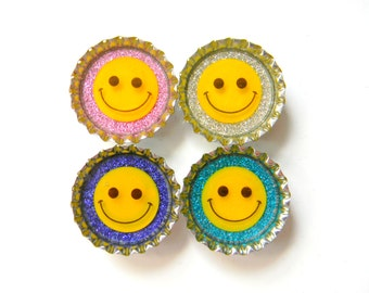 SALE Smiley Face Glitter Resin Filled Bottle Cap Magnet Set of 4